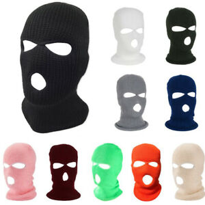 3Hole Full Face Mask Ski Mask Winter Cap Balaclava Hood Army Tactical 2 Way Wear