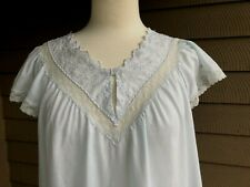 New listing Shadowline Long Blue Sleeveless Cotton Blend Nightgown Embroidery Lace Medium