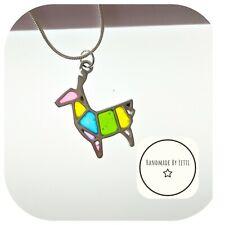 Llama Multi Colour stain glass Necklace Silver Chain 🌈☀️🌟22inch chain 💖