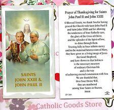Prayer of Thanksgiving for Sts John Paul II & John XXIII - Paperstock Holy Card