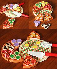 Wooden Pizza Play Food Set Wooden Toy Kids Pretend Kitchen Childrens Cooking PQ