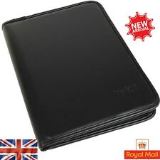 A4 Leather Folder Organiser Business Zipped Portfolio Case Conference File
