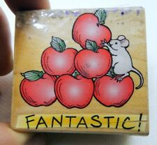 "Hero Arts Fantastic! apple mouse Rubber Stamp detailed 2X2""    Free Shipping USA"