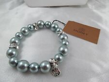 NWT MONET SILVER, BLUE PEARL & CRYSTAL BEADED BRACELET, Stunning, Signed