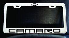 """CHEVROLET CAMARO"" License Plate Frame, Custom Made of Chrome Plated Metal"