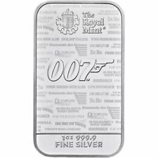 1 oz .999 Fine Silver James Bond 007 Royal Mint Collector Bar - Limited Mintage