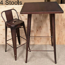 More details for copper tolix metal 4 four bar stool table set metal seat retro bistro cafe chair