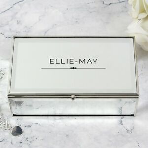 Personalised Mirrored Jewellery Box - Gift For Her Birthday Anniversary Any Name