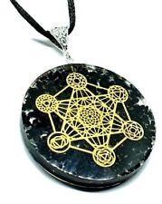 Orgone Black Tourmaline METATRONS CUBE 7 CHAKRA Orgonite Pendant Cord Necklace