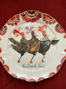 Anthropologie Inslee Fariss Three French Hens 21 cm Plate Christmas Plate New