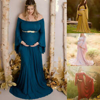 Fashion Women Pregnancy Photography Off Shoulder Maternity Solid Long Dress Gown