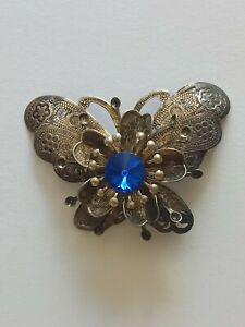 Large Vintage Silver Tone Butterfly Brooch With Blue Rhinestone