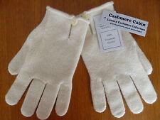 Cream 100% cashmere wool button gloves ladies womens NEW made in Scotland