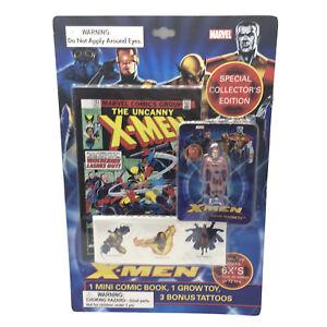 Marvel X-Men Collector's Edition Mini Comic Book Grow Toy Temp Tattoos Magneto