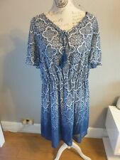 George Size 20  Dress Blue And White with fitted slip chiffon feel fabric BNWTS