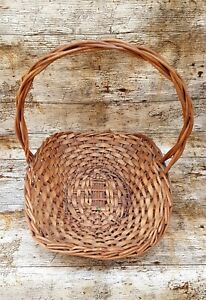 Vintage Small Woven Rustic Wicker Cane Handle Basket Trug Foraging Flowers Veg