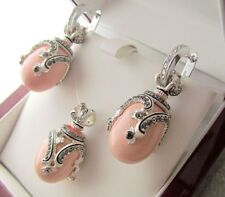 CORAL PENDANT & EARRINGS HANDMADE RUSSIAN SOLID STERLING SILVER 925