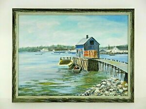 "M.JANE DOYLE SIGNED ORIG. ART OIL/CANVAS PAINTING ""LOBSTER SHACK"" (SEASCAPE) FR."