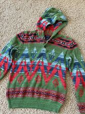 Polo Ralph Lauren Boys L (14/16) Hooded Sweater Aztec Indian Green Red Blue $125