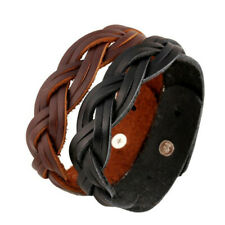 Punk Mens Genuine Leather Braided Bracelet Wrap Wristband Cuff Bangle Adjustable