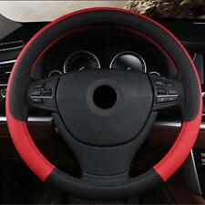 PU Leather Universal Car Steering Wheel Cover 38CM Red Anti-Slip Accessories 1x