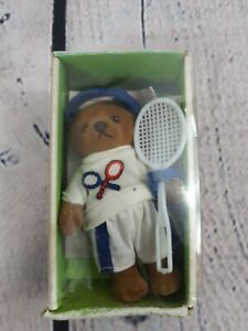 "Vintage Toy Bear. 4"" Tennis Player. 1983 by simba toys. Boxed. Boris Bear."