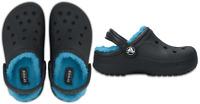 Crocs Bambini classic fuzz FODERATO clog. zoccolo con comodo, caldo canna. Navy