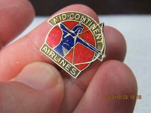 Extremely Rare Mid-Continent Airlines Sterling Pilot Indian Screwback Pin (20J3)