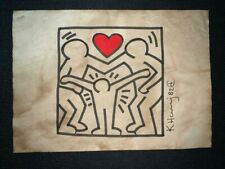 Keith Haring drawing on paper signed & stamped hand carved