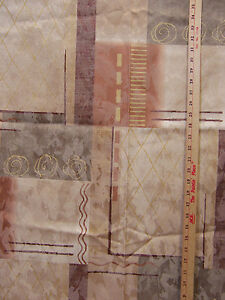 """Fabric Geometric Patchwork Earth Tones Shades Brown Gold Rust 57"""" x 76"""""""