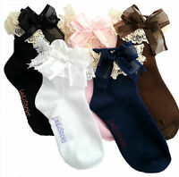 2 Pairs Girls Kids Toddlers White Black Blue Pink Lace Trim Frilly School Socks