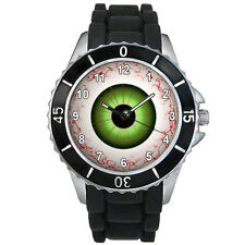 Evil Eye Ball Mens Ladies Unisex Black Jelly Silicone Strap Wrist Watch S1233E
