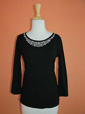 New Cable &  Gauge Size S Black Pearl Embellished 3/4 Sleeve Sweater