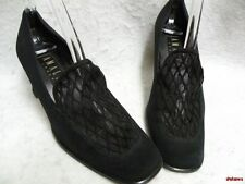 "Amalfi Black Pumps Shoes 8AA Mesh Vamp 2"" Heel Leather Sole Nice Condition"