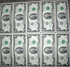 TWO DOLLAR BILLS (10) IN SERIAL # ORDER- (B) UNCIRCULATED-A PERFECT GIFT