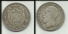 ROMANIA RARO 1 LEU 1885 B CAROL I