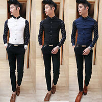 New Fashion Men's Casual Shirts Business Dress T-shirt Long Sleeve Slim Fit Tops