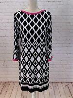 Joseph Ribkoff Dress Size 12 Tunic Mod Geometric Black White Pink 3/4 Sleeve