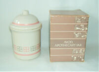 Vintage 1987 Avon Porcelain Apothecary Jar w Pink/Gray Accents NEW IN BOX