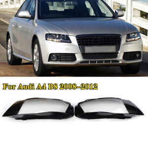 A Pair Cover Lens Clear Headlight Headlamp Side Fit For Audi A4 2009-2012 B8