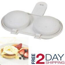Microwave 2 Egg Poacher Non Stick Cooker Breakfast Sandwich Maker Cookware Eggs