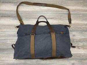 J. Crew Blue Abingdon Weekender Bag | Waxed Cotton | Extra Large