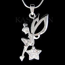 w Swarovski Crystal Tinkerbell ANGEL Wing Fairy Tink Star charm Necklace Jewelry
