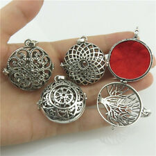 Mix 4X Silver Aromatherapy Copper Flower Rubber Perfume Locket Pendant