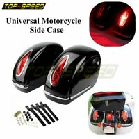 2 Universal Side Case Motorcycle Hard Saddle Bags+RED LED Tail Lights For Harley