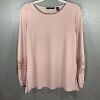 Dennis By Dennis Basso Light Pink Long Sleeve Blouse w. Lace Detail Size Small