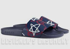 GUCCI women blue 39 white/red GHOST Leather slide FLIP-FLOP shoes NIB Auth $330!