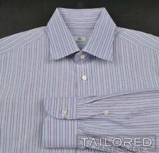 BORRELLI Blue Striped 100% Cotton Mens Luxury Dress Shirt - 16 1/2
