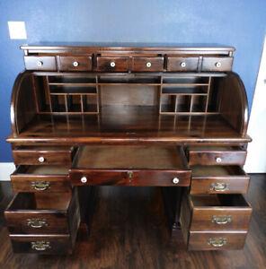 Vintage Ethan Allen Roll Top Desk Old Tavern Antiqued Pine Key Discounted 1970s