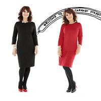 Arlene Phillips Womens Black Knee Length Shift Dress 3/4 Sleeve Zip UK 14 16 18